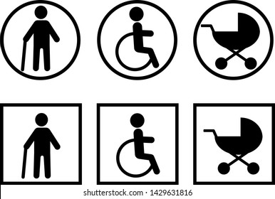 Stroller Parking Sign Images, Stock Photos & Vectors