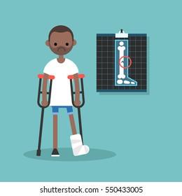 Disabled black man on crutches with broken leg / editable vector illustration, vector clip art