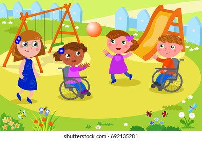 Disabled boy and girl playing at the playground playing with other people, vector illustration