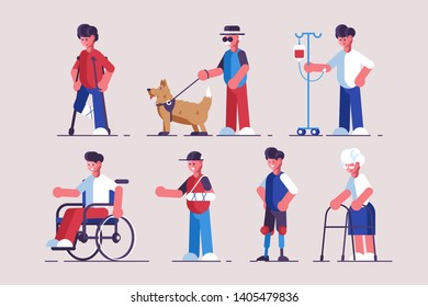 Disabled characters set vector illustration. Collection consists of handicapped flat style concept. People with disabilities such as broken leg hand blindness prosthetic