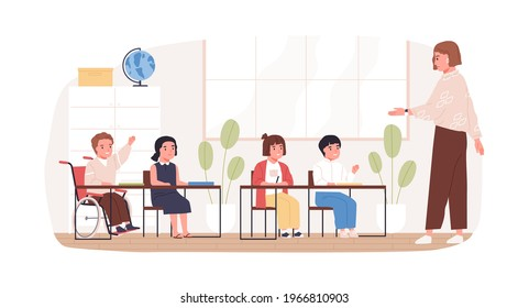 Disabled child in wheelchair studying in school. Concept of social inclusion of children with disability into education. Boy in wheel chair in classroom. Colored flat vector illustration isolated