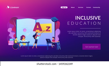 Disabled children studying in school. Learning program. Inclusive education, social and communicative competence, inclusive environment concept. Website homepage landing web page template.