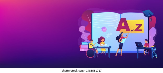 Disabled children studying in school. Learning program. Inclusive education, social and communicative competence, inclusive environment concept. Header or footer banner template with copy space.