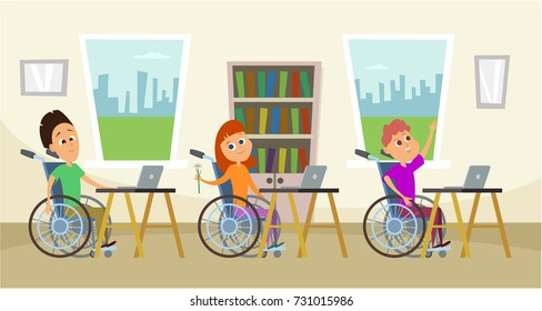 Disabled children in wheelchair sitting at the school desk. Wheelchairs Kids in education vector concept