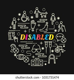 disabled colorful gradient with line icons set, vector editable stroke