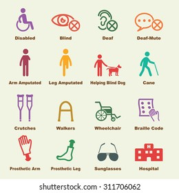 disabled elements, vector infographic icons