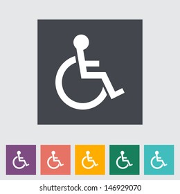 Disabled flat single icon. Vector illustration.