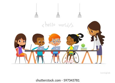 Disabled girl in wheelchair and other children sitting at laptops and learning coding during informatics lesson. School inclusive education concept. Vector illustration for website, advertisement.