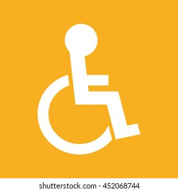 Disabled handicap icon vector illustration. Yellow background