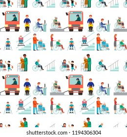 Disabled handicapped diverse people vector wheelchair invalid person help disability characters disable medical assistance seamless pattern background illustration.