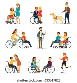 Disabled and handicapped set with people in wheelchairs on crutches blind man and woman on artificial legs isolated vector illustration