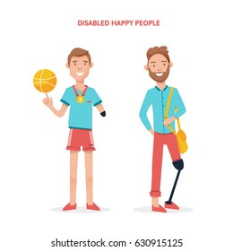 Disabled happy people on a white background. Disabled set isolated vector illustration
