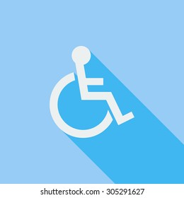Disabled icon. Flat vector related icon with long shadow for web and mobile applications. It can be used as - logo, pictogram, icon, infographic element. Vector Illustration.