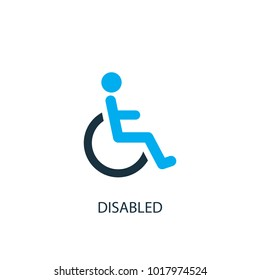 Disabled icon. Logo element illustration. Disabled symbol design from 2 colored collection. Simple Disabled concept. Can be used in web and mobile.