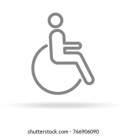 Disabled Icon In Trendy Thin Line Style Isolated On White Background. Medical Symbol For Your Design, Apps, Logo, UI. Vector Illustration, Eps10.