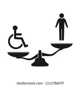 disabled and injustice. Scales icon.