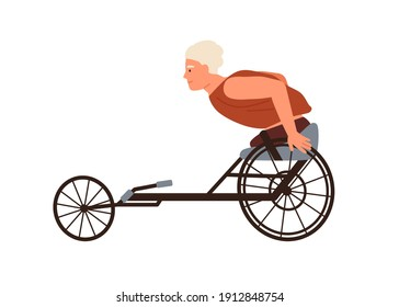 Disabled male character with amputated legs ride on wheelchair racing vector flat illustration. Athlete exercising or training isolated on white. Man with physical disability doing sports.