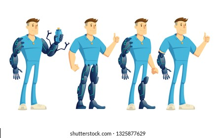 Disabled man with hand, leg robotic prosthesis showing thumbs up, holding water bottle cartoon vector illustration set isolated on white background. Human cybernetization concept characters collection