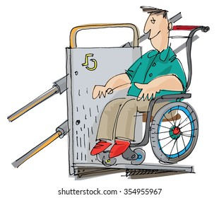 A disabled man sitting on wheelchair on stairlift. Cartoon. caricature.
