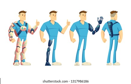 Disabled man wearing innovative exoskeleton or exosuit, handicapped or injured person using robotic led and hand prosthesis, walk with spine artificial support mechanism cartoon vector illustration