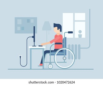 Disabled man working at home - flat design style illustration on blue background. Young person in a wheelchair sitting at the computer in the room. Silhouettes of window, lamp, pin board, battery