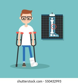 Disabled nerd on crutches with broken leg / editable vector illustration, vector clip art