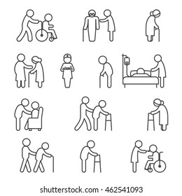 Disabled nursing and disabled healthcare icons. Caring for disabled thin line vector signs