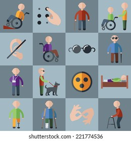 Disabled people care assistance and accessibility icons set isolated vector illustration