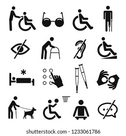 Disabled people care and disability icon set. Help symbols for men in bad physical or mental condition. Vector line art illustration isolated on white background