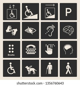 Disabled people care help assistance and accessibility icons. Set of disability icons: mental, physical, sensory, intellectual disability symbols. Isolated vector illustration.