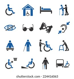 Disabled people care help assistance and accessibility icons set isolated vector illustration