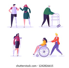 Disabled People Characters. Woman in Wheelchair with Careful Man. Patients with Disabilities, Girl on prostheses. Recovering and Rehabilitation. Vector illustration