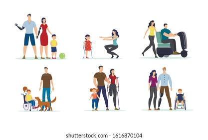 Disabled People, Children and Family Members with Disabilities Isolated, Trendy Flat Vector Characters Set . Parents with Prosthesis, Kid in Wheelchair, Paraplegic Man on Electric Scooter Illustration