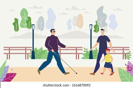 Disabled People Daily Life Mobility Trendy Flat Vector Concept. Blind Man, Person with Visual Impairment, Walking on Street or City Park Path in Black Glasses, Finding Way with Long Cane Illustration