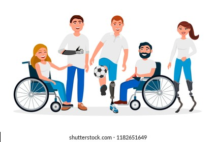 Disabled people with disabilities and prosthesis, people on wheelchairs, High-Tech Running Prosthetics, Prosthetic Hand vector flat illustration. Men and women with incapabilities Cartoon characters
