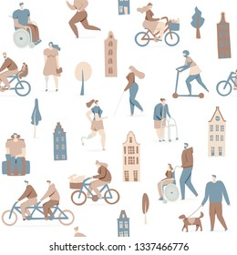 Disabled people enjoy living in city, vector design