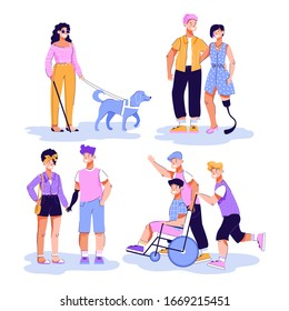 Disabled people having walk and romantic dates vector illustration isolated.