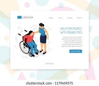 Disabled people help organizations volunteers training fundraising isometric web page design with providing wheelchair assistance vector illustration