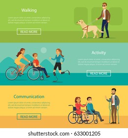 Disabled people horizontal banners with blind man walking with dog active recreation and communication of invalids vector illustration