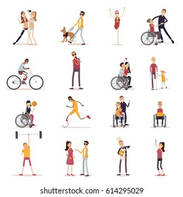 Disabled people icons set with sports and leisure symbols flat isolated vector illustration