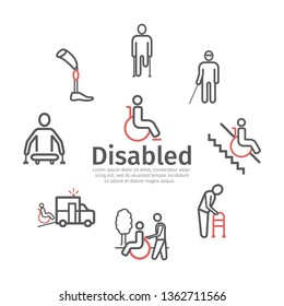 Disabled People line icons set. Vector signs for web graphics.