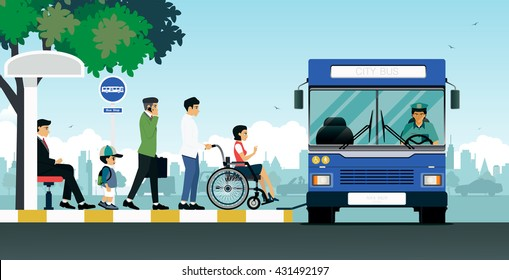Disabled people and others are waiting for the bus.