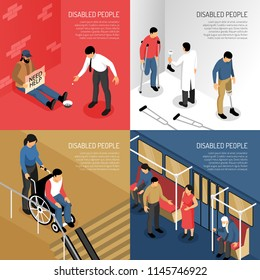 Disabled people in public transport person needing help artificial limbs isometric design concept isolated vector illustration