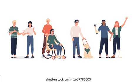 Disabled people set. Men and women with prosthesis and wheelchair, deaf-mute people and blind man with dog escort. Flat vector illustration in cartoon style.