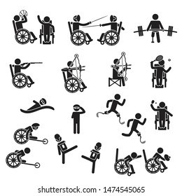 Disabled people sports icon set. Vector.