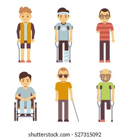 Disabled people vector set. Old and young invalid persons.