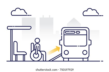 Disabled people are waiting for the bus.  Access ramp for disabled persons in a bus. Public transport. Modern bus stop in the city.