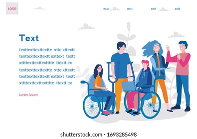 Disabled people, wheelchair. Group of disabled people. Vector illustration for web banner, infographics, mobile. Friends together