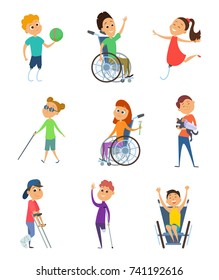Disabled people. Wheelchair for kids. Children with disability. Vector characters in cartoon style. Disabled child in wheelchair, character handicapped kids illustration
