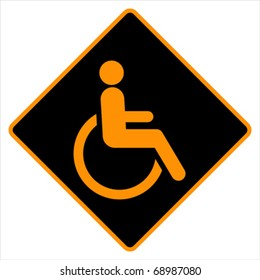Disabled people in wheelchair ramp icon - sign, vector